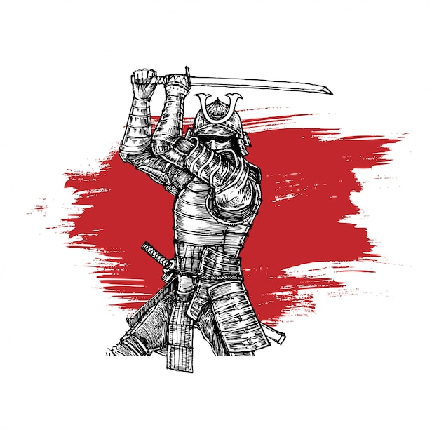 Samurai in fester position mit katana Premium Vektoren