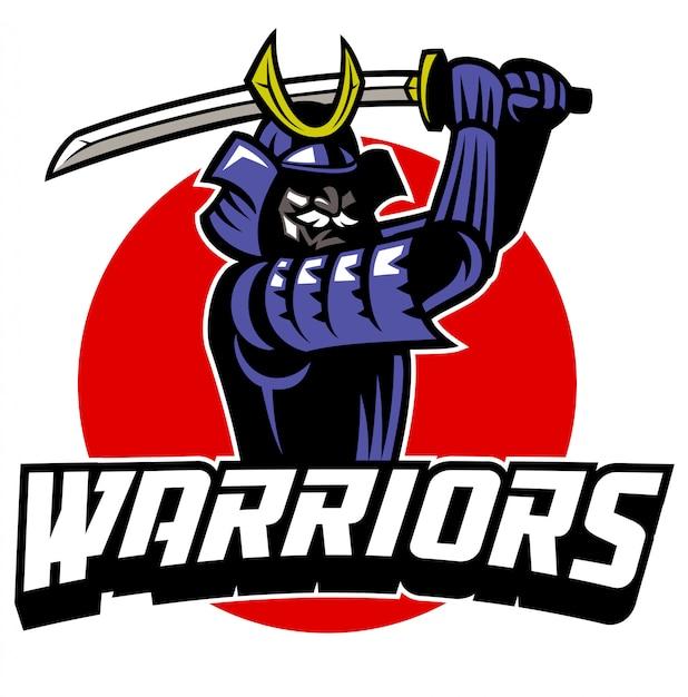 Samurai-krieger-maskottchen Premium Vektoren