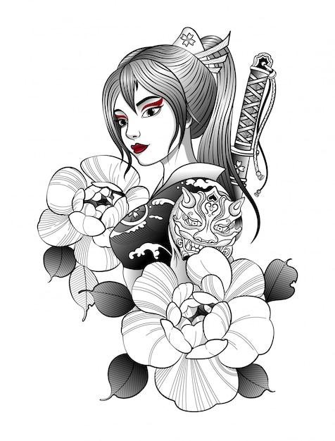 Samurai-mädchen mit katana hinter ihrem rücken Premium Vektoren