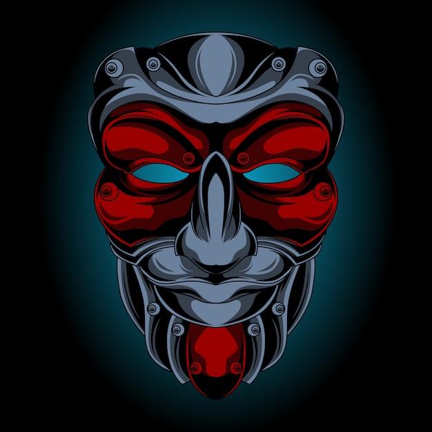 Samurai-maske lächelt Premium Vektoren