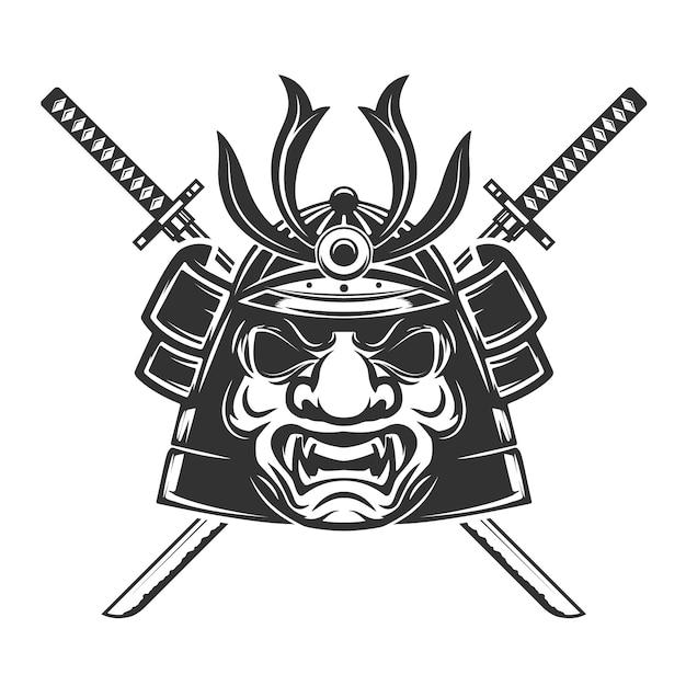 Samurai-maske mit gekreuzten schwertern auf weißem hintergrund. elemente für, etikett, emblem, zeichen, markenzeichen. illustration. Premium Vektoren
