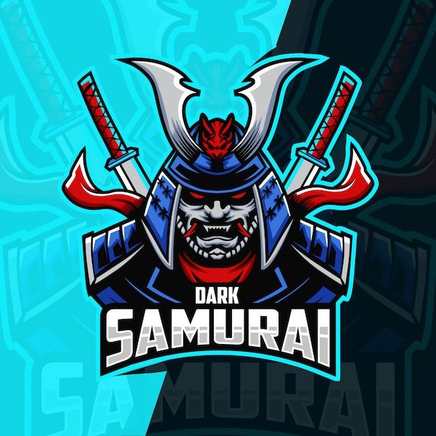Samurai maskottchen esport logo design Premium Vektoren