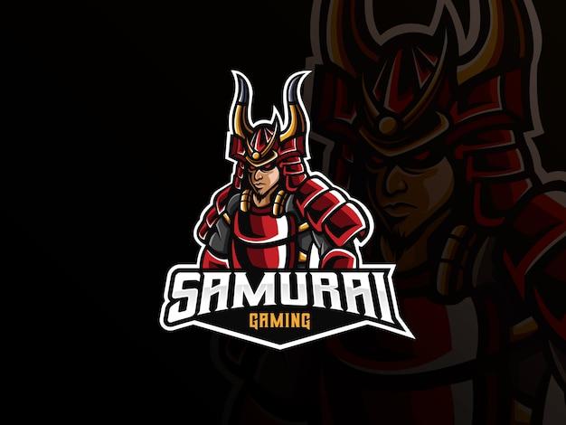 Samurai maskottchen sport logo Premium Vektoren