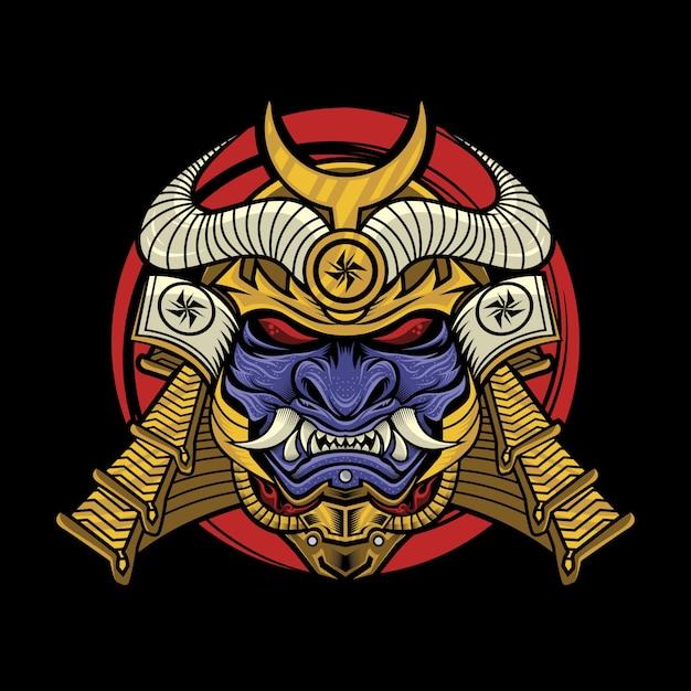 Samurai mit oni-maskenillustration Premium Vektoren