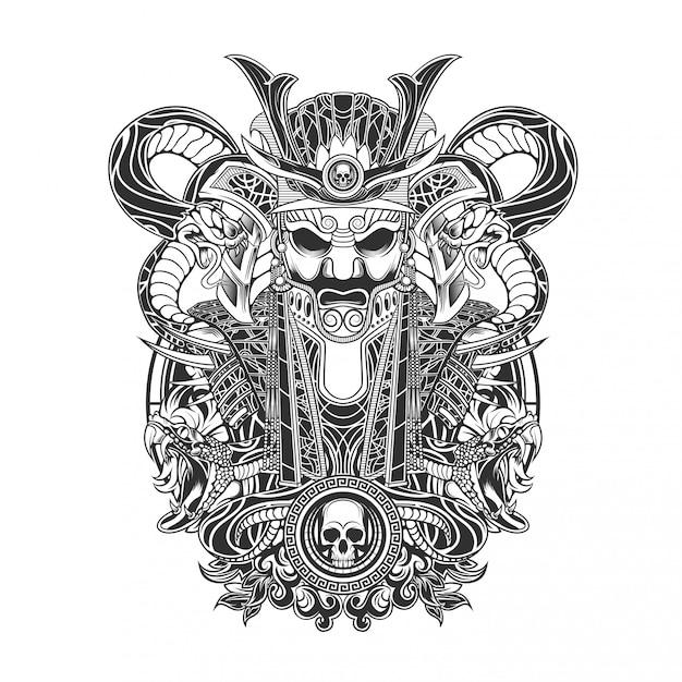 Samurai mit schlangen-vektor-illustration Premium Vektoren