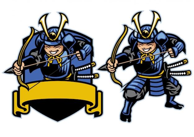 Samurai ronin krieger bogenschütze cartoon maskottchen Premium Vektoren