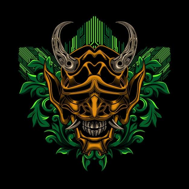 Samurai ronin-maskenblumenvektor-illustrationskunst Premium Vektoren