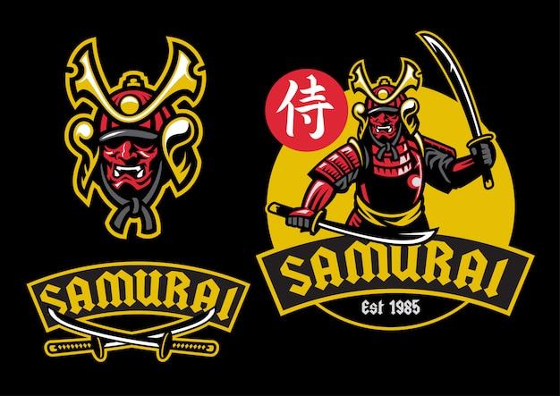 Samurai ronin maskottchen halten das paar katana schwert Premium Vektoren