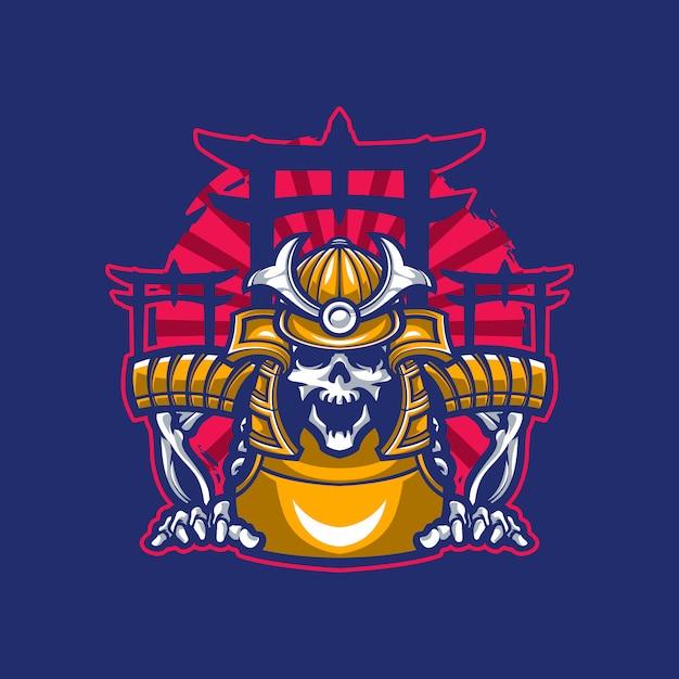 Samurai-rüstung des schädel-maskottchens Premium Vektoren