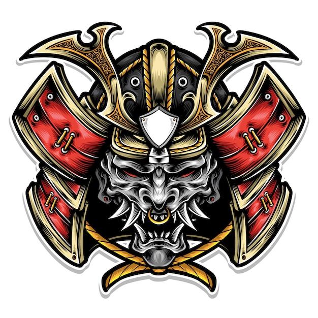 Samurai-rüstung mit maskenlogo Premium Vektoren