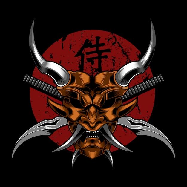 Samurai-übel-teufel-vektorillustration Premium Vektoren
