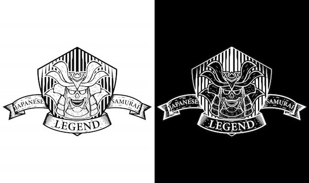 Samurai vintage logo design inspiration Premium Vektoren