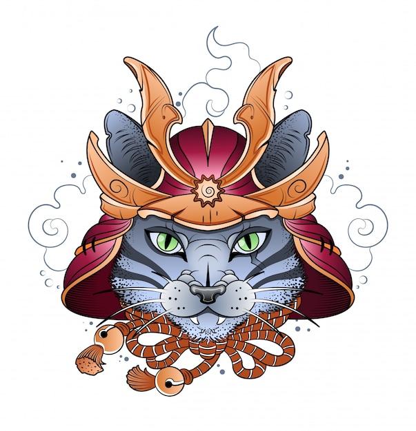 Samuraikatze in einem kampfhelm Premium Vektoren