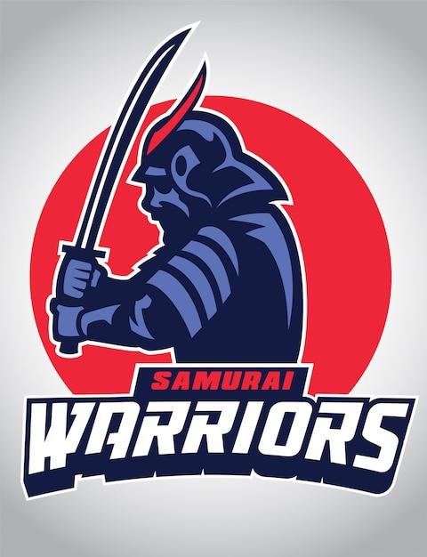 Samuraimaskottchen halten das schwert Premium Vektoren
