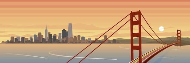 San francisco und golden gate bridge landschaft banner Premium Vektoren