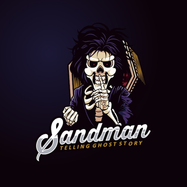 Sandman maskottchen logo skeleton gost Premium Vektoren