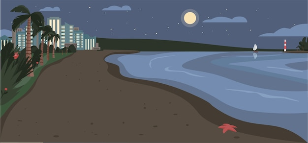 Sandstrand in der nacht farbillustration. abendküste mit wolkenkratzern und tropischen palmen. exotische sommerküstenkarikaturlandschaft mit modernen stadtgebäuden auf hintergrund Premium Vektoren