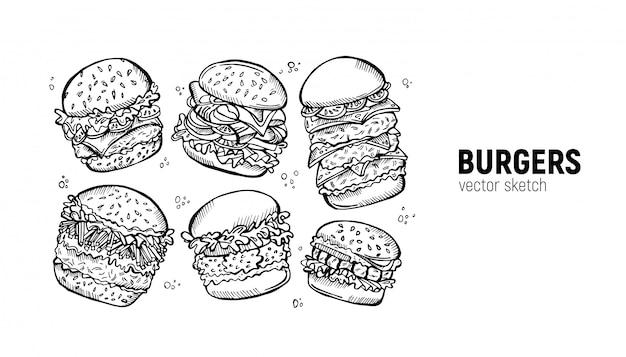 Sandwich mit chiken, speck, pommes frites und anderen Premium Vektoren