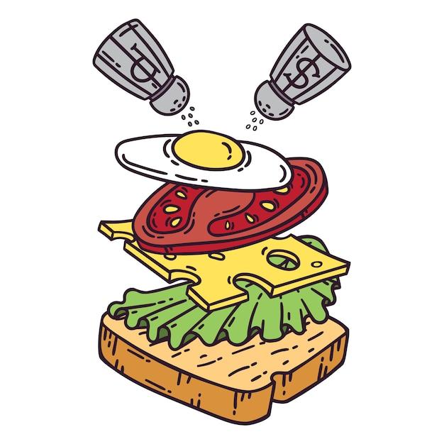 Sandwich mit ei. Premium Vektoren