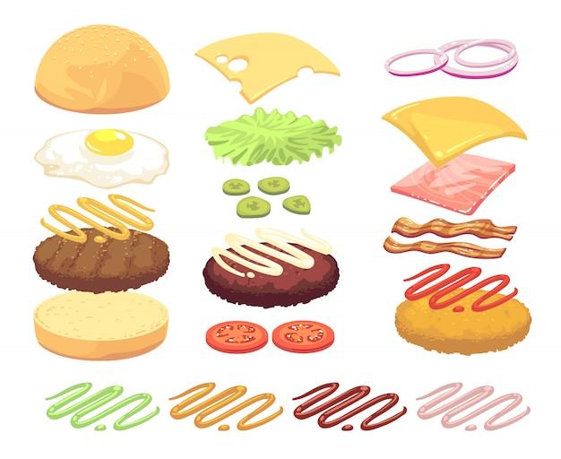 Sandwich- und burgerlebensmittelinhaltsstoff-karikatursatz Premium Vektoren