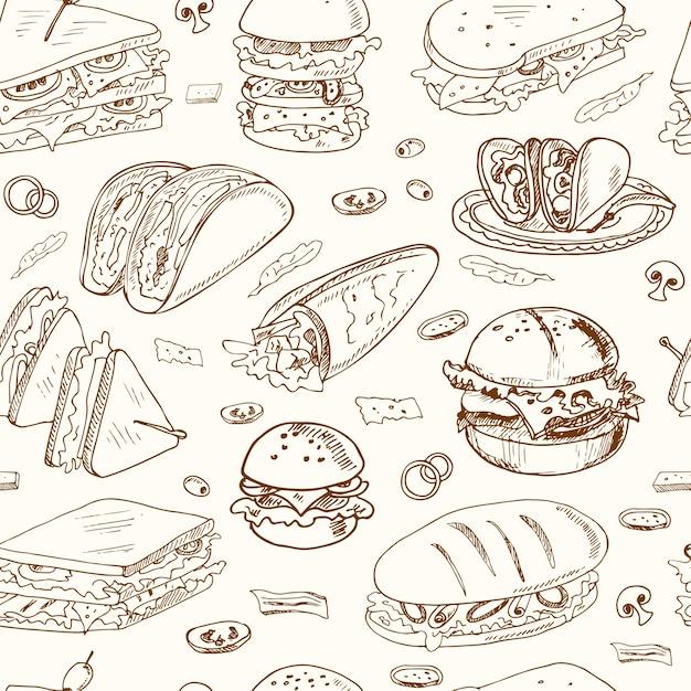 Sandwiches nahtloses muster club sandwich cheeseburger hamburger deli wrap roll taco baguette bagel toast. Premium Vektoren