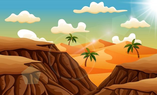 Sandwüstenlandschaft von über den felsen Premium Vektoren