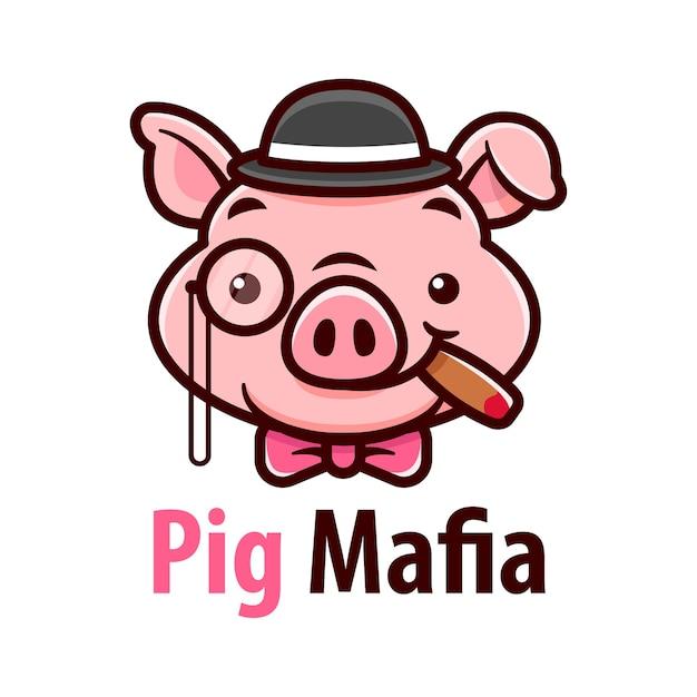 Sanftes schwein, das hut trägt und eine chartar-cartoon-illustration raucht Premium Vektoren