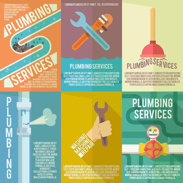 Sanitär icons zusammensetzung poster Kostenlosen Vektoren