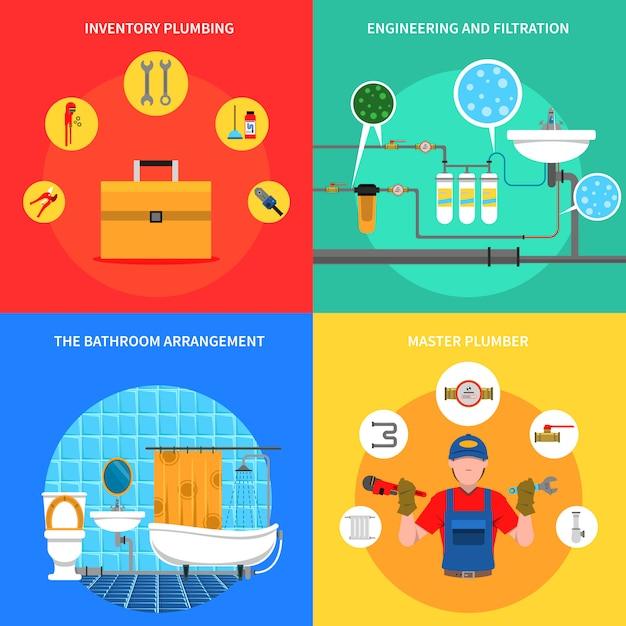 Sanitär-konzept-set Kostenlosen Vektoren