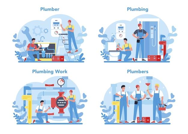 Sanitär-service-konzept gesetzt. professionelle reparatur und reinigung von rohrleitungen Premium Vektoren