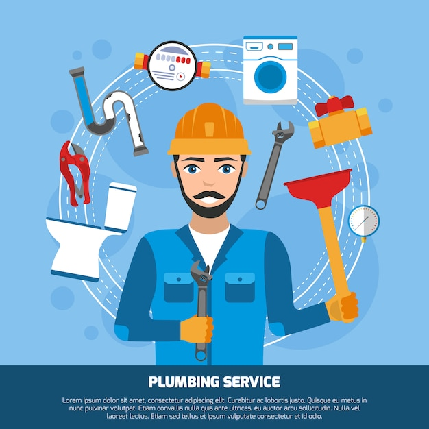 Sanitär-service-tools-hintergrund Kostenlosen Vektoren