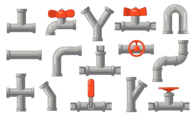 Sanitärrohre eingestellt. graue metallrohre mit ventilen, industriellen rohrleitungen, isolierten wasserabläufen. flache vektorillustrationen für engineering, verbindungssystemkonzept Kostenlosen Vektoren