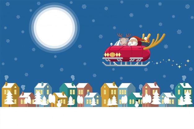 Sankt-fliegenschlittenauto über winterstadt nachts Premium Vektoren