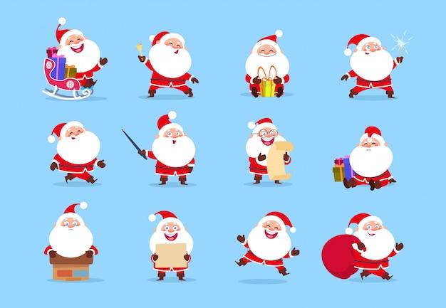 Santa charakter. nette weihnachtsmann-charaktere der lustigen karikatur mit verschiedenen gefühlen, element für weihnachtsgrußkarte Premium Vektoren