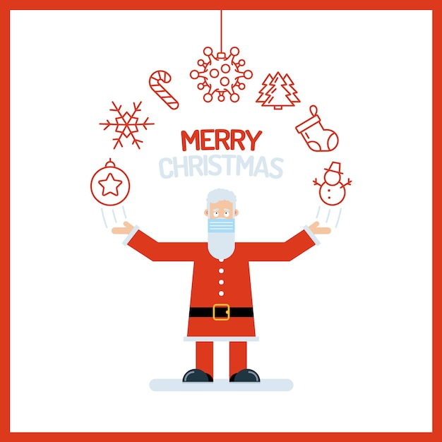 Santa claus alter mann charakter in rot mit seinen händen Premium Vektoren