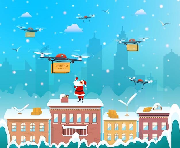 Santa claus auf dem dach des hauses unter verwendung des brummens zum lieferungsweihnachtsgeschenk Premium Vektoren