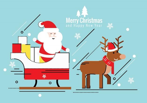 Bilder Rentiere Weihnachten.Santa Claus Auf Schlitten Und Seine Rentiere Weihnachten Und Guten