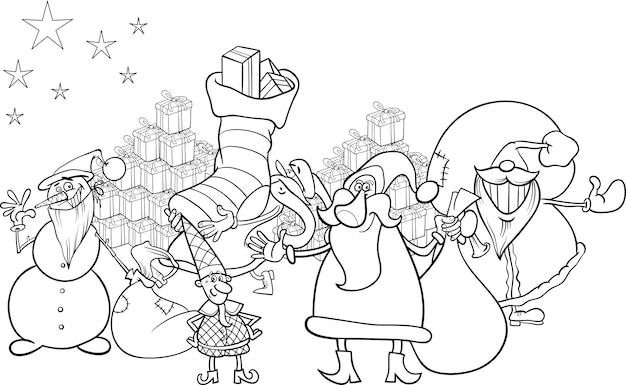 Santa claus cartoon färbung seite Premium Vektoren