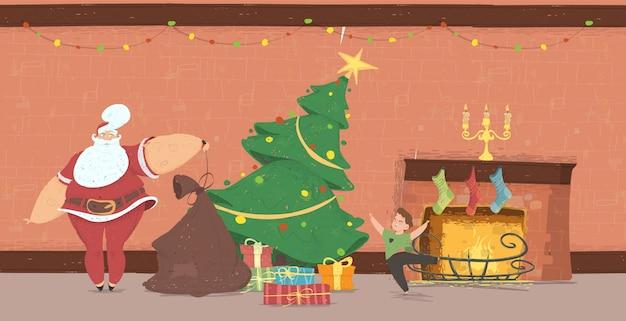 Santa claus come zu hause zum glücklichen kind mit geschenken Premium Vektoren