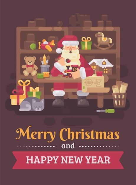 Santa claus, die am schreibtisch in seiner werkstatt spielt spielwaren für kinder sitzt. weihnachtsgruß c Premium Vektoren