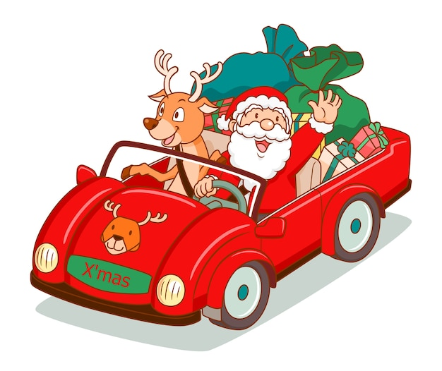 Santa claus, die ein auto mit ren neben fährt. Premium Vektoren
