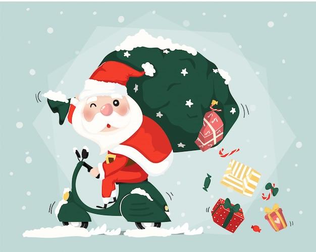 Santa claus-fahrroller-lieferungspräsentkarton-weihnachtsnetter flacher vektor Premium Vektoren