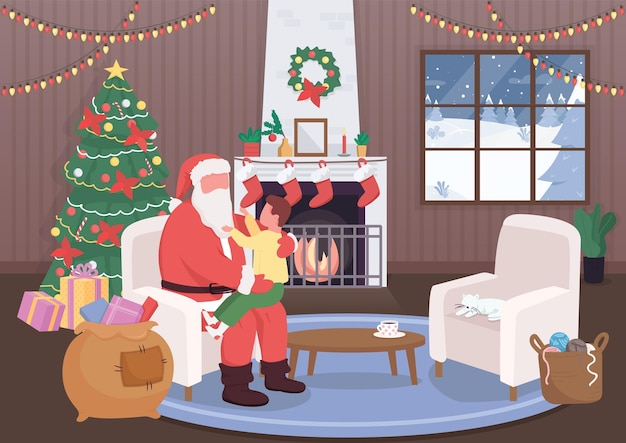 Santa claus grüßen kind flache farbillustration Premium Vektoren