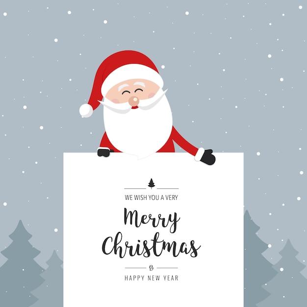Text Frohe Weihnachten.Santa Claus Hinter Banner Frohe Weihnachten Gruss Text