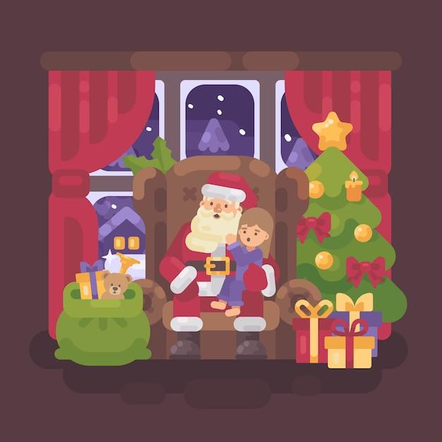 Santa claus in einem stuhl mit einem kleinen mädchen in seinem schoss Premium Vektoren