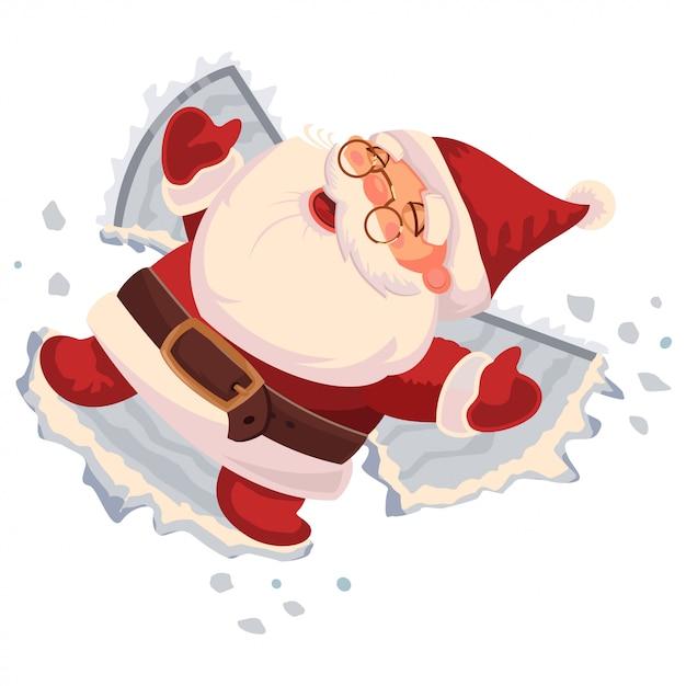 Santa claus macht einen schneeengel. vektorzeichentrickfilm-figur lokalisiert Premium Vektoren