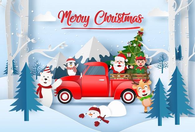 Santa claus mit freunden, die für weihnachten am berg feiern Premium Vektoren