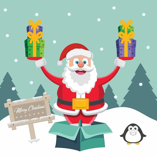 Santa claus mit geschenken hintergrund Premium Vektoren