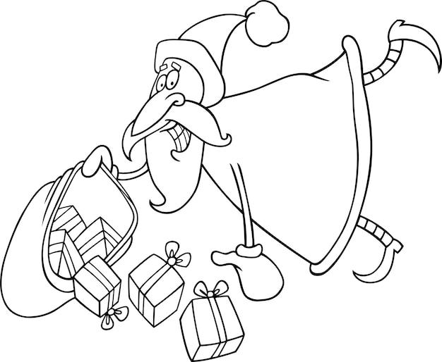 Frohe Weihnachten Schriftzug Zum Ausmalen.Santa Claus Mit Geschenken Zum Ausmalen Download Der Premium Vektor