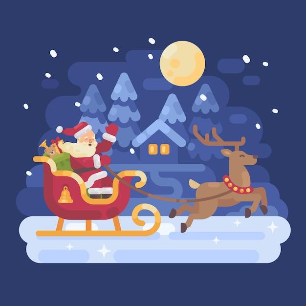 Santa claus reiten in einem schlitten von rentieren gezogen Premium Vektoren